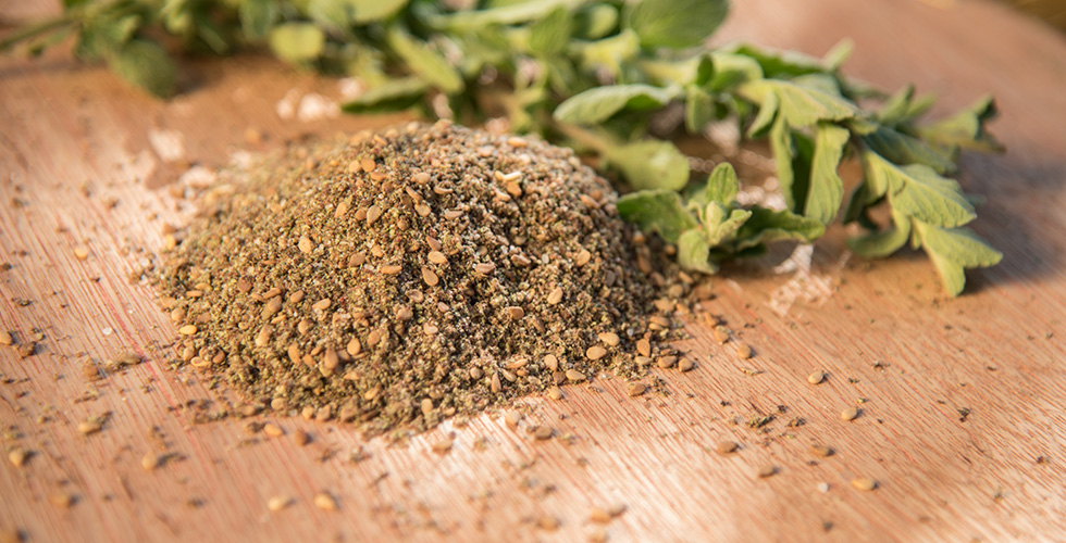 <b>Thyme Zaatar</b><br/>Grind or pound the thyme, add the sesame, salt and finely grounded sumac and mix well.