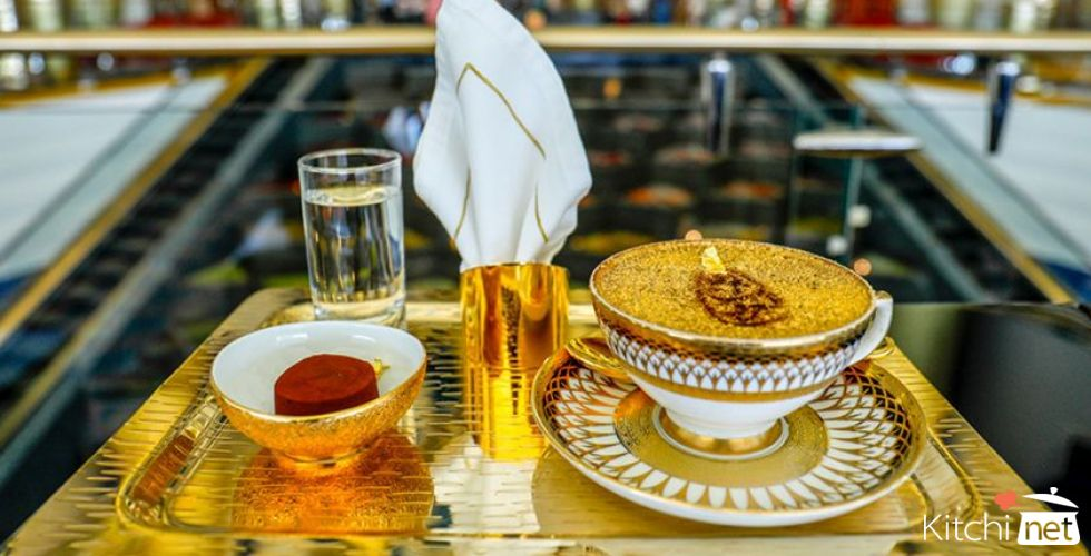 24-carat gold cappuccino served at Burj Al Arab